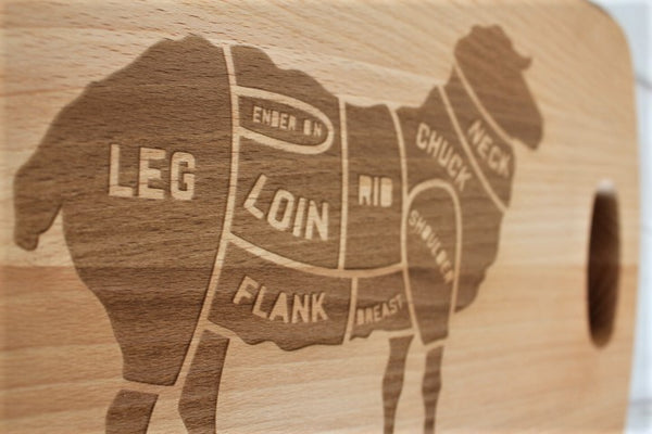 Lamb Cuts Engraved Beech Chopping Board - Personalised For