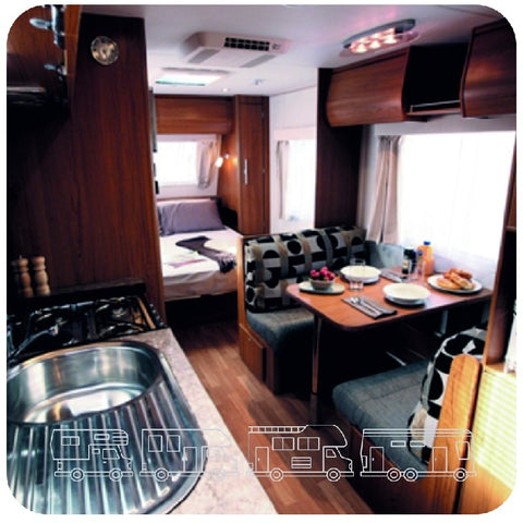 Motor home etched design acrylic mirror