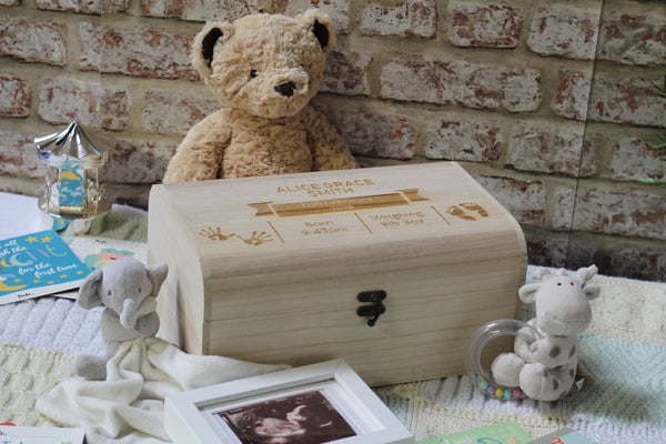 Baby Memory Box With Baby Hand & Footprints - ukhomeware