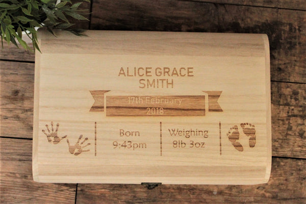 Baby Memory Box With Baby Hand & Footprints