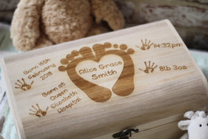 Baby Memory Box - Baby Feet & Heart Design - ukhomeware