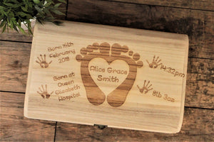 Baby Memory Box - Baby Feet & Heart Design