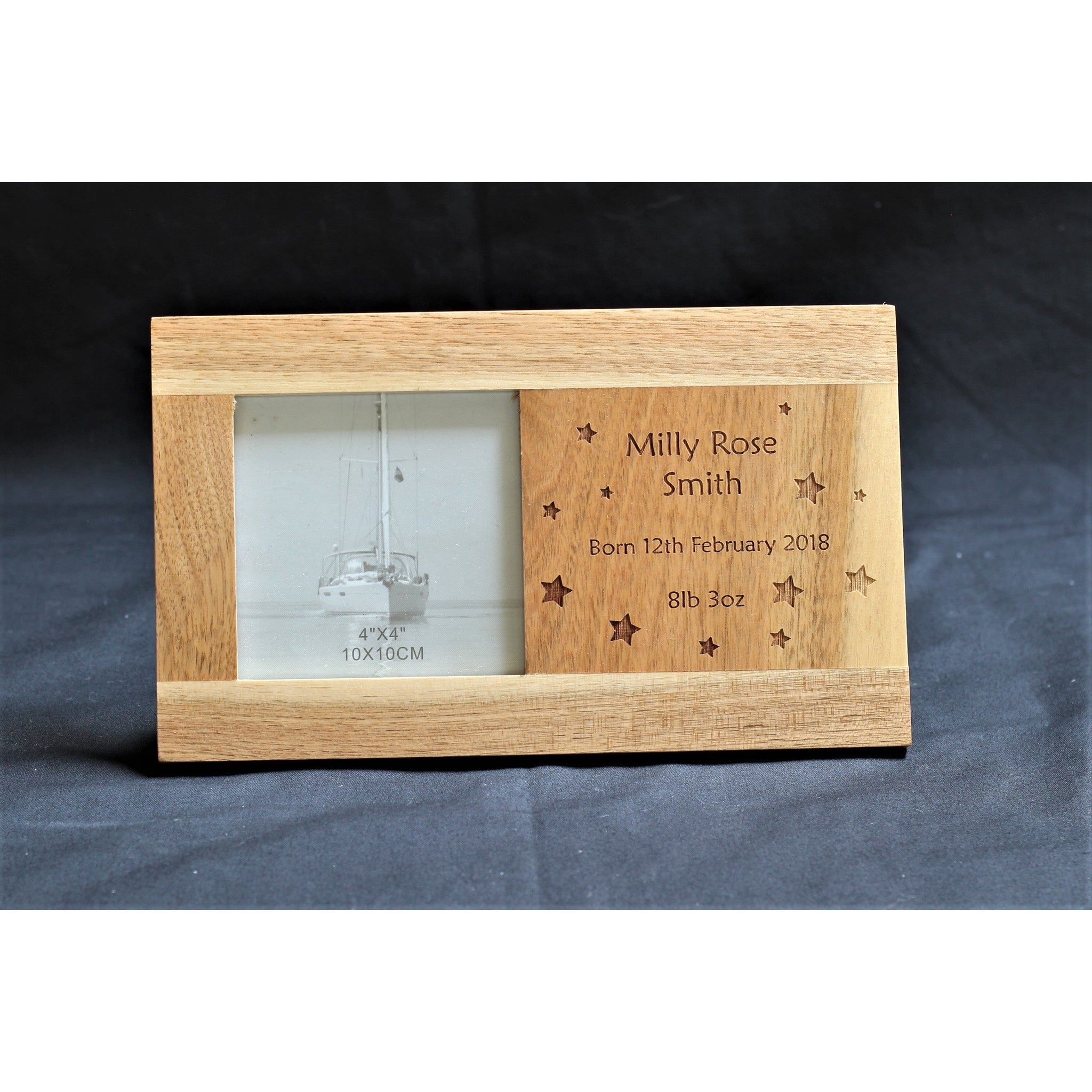 Personalised Oak Panel Picture Frame - New baby/ Christening - ukhomeware
