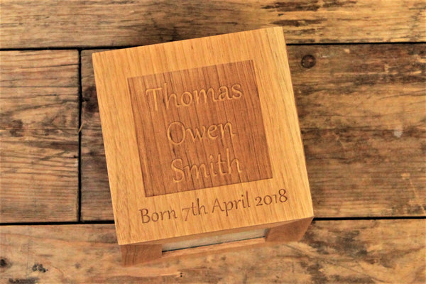 New Baby Oak Personalised Photo Cube