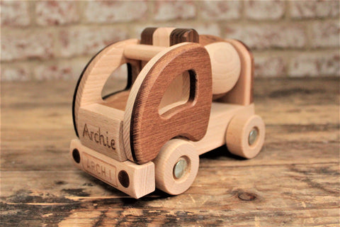 Personalised Cement Mixer Wooden Toy - Personalised For