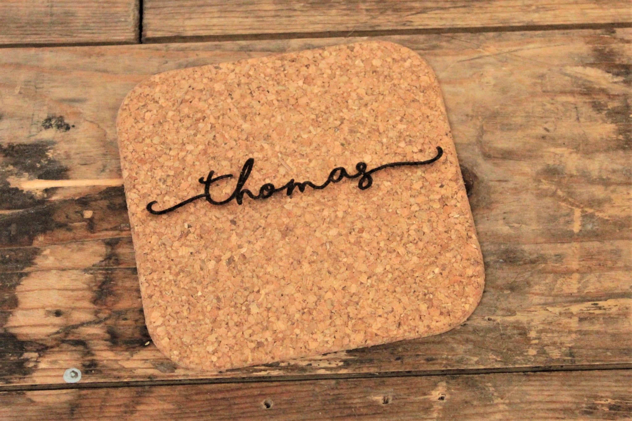 Personalised engraved cork coaster - engraved by Personalised For