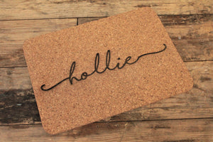 Personalised engrave cork placemats - engraved by Personalise For