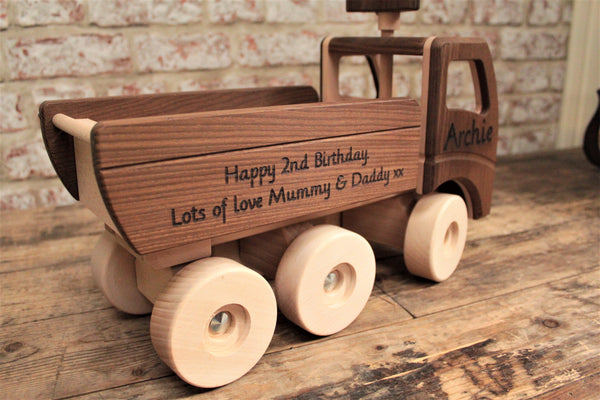 Personalised Dump Truck Wooden Toy - Personalised For