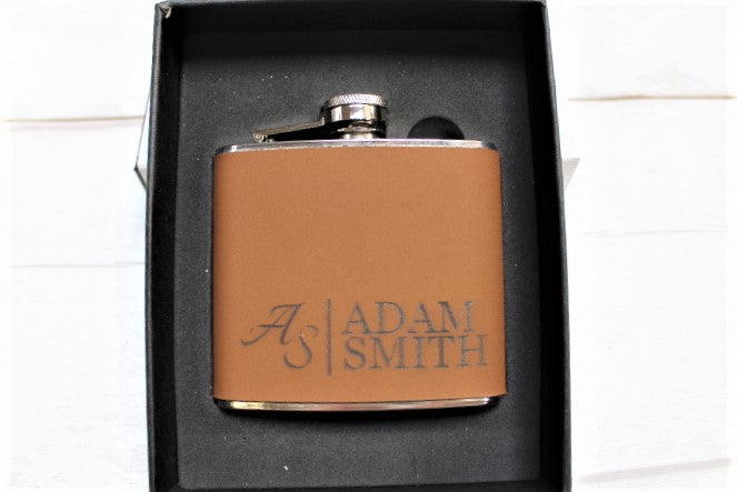 Leather Engraved Personalised Hip Flask Gift Set - ukhomeware
