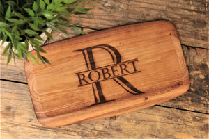 Personalised Rustic Acacia Wood Board - Name and Initial Design - Unique Chopping Board - Personalised For