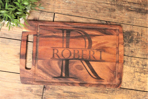 Personalised Rustic Acacia Handled Wooden Board - Name and Initial Design - Personalised For
