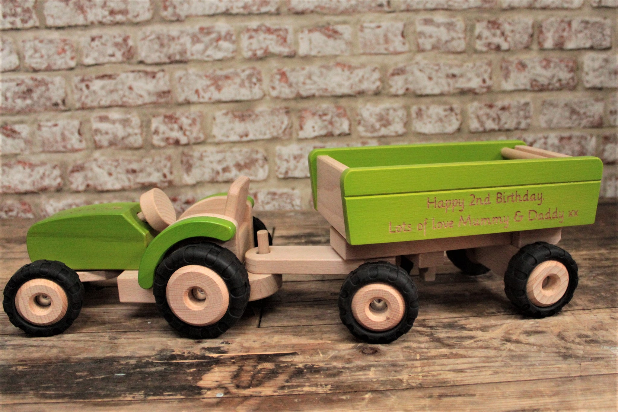 Personalised Wooden Tractor And Trailer Toy - Personalised For