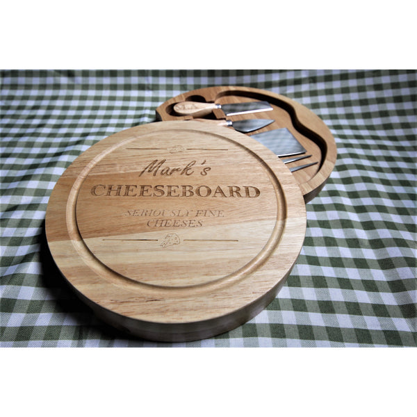 Personalised engraved cheese board with cheese knives - ukhomeware