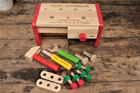 Personalised Wooden Toy Workbench & Toolbox - Personalised For