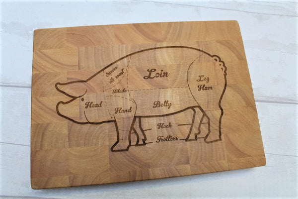 "Chopping board - engraved ""pork cuts"" butchers block - ukhomeware"
