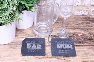 Worlds Best Mum And Dad Slate Engraved Coasters - Personalised For
