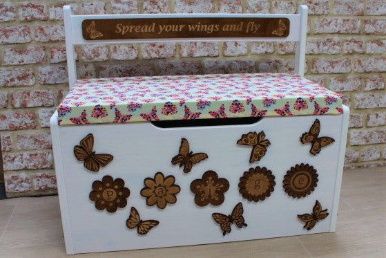 Personalised Toy Box - Butterflies & Flowers - ukhomeware