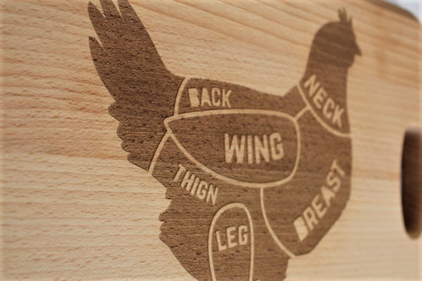 Chicken Cuts Engraved Beech Chopping Board - Personalised For