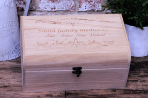 Family Memories Keepsake Memory Box - Personalised to order - Ideal housewarming Chirstmas and remembrance gift. By Personalised For