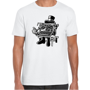 Gentleman Typewriter Cartoon t-shirt - ukhomeware