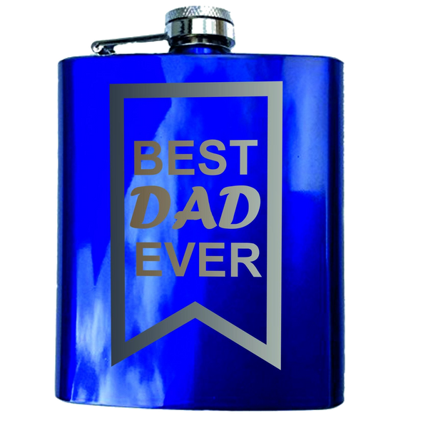 Best Dad Ever Engraved Hip Flask Gift Set