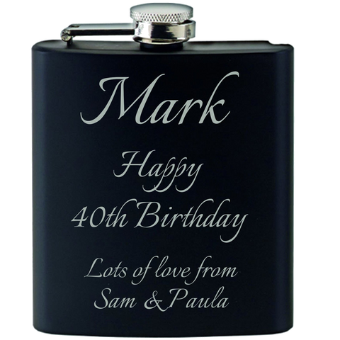 Personalised Engraved Hip Flask Gift Set