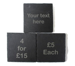 Personalised slate square coasters