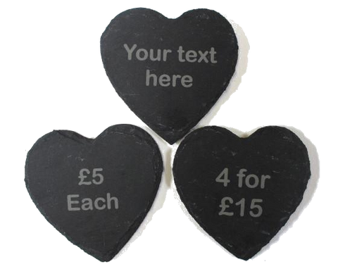 Personalised slate heart coasters