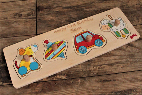 4 Piece Personalised Lift Off Wooden Puzzle - Personalised For