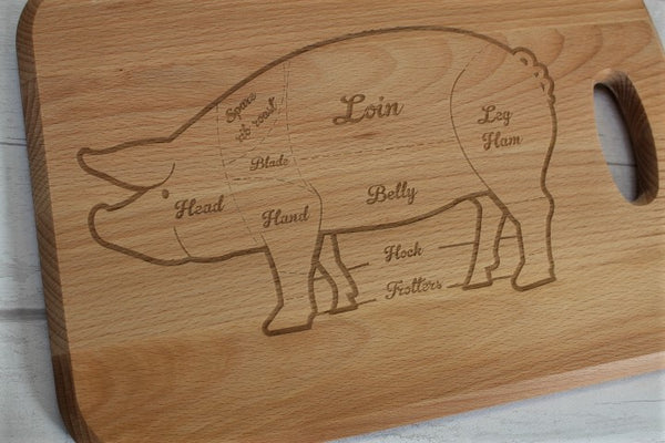 Pork Cuts Engraved Beech Chopping Board - Personalised For