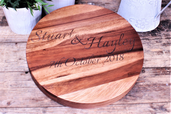 Wedding, Anniversary Gift Luxury Engraved Round Acacia Wood Block - By Personalised For