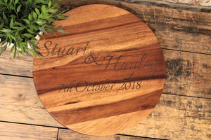 Wedding, Anniversary Gift Luxury Engraved Round Acacia Wood Block