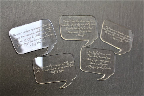 Shakespeare love quote acrylic table decorations/ table confetti - ukhomeware