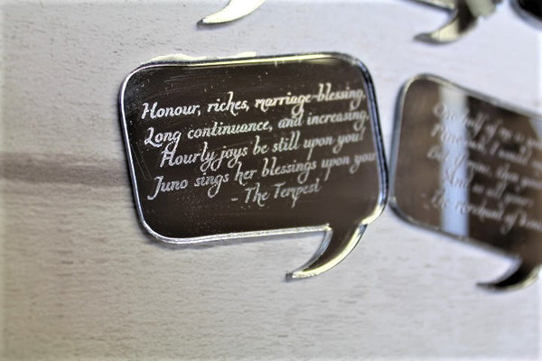 Shakespeare love quote mirrored table decorations/ table confetti - ukhomeware