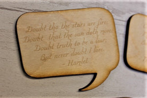 Shakespeare love quote wooden table decorations/ table confetti - ukhomeware
