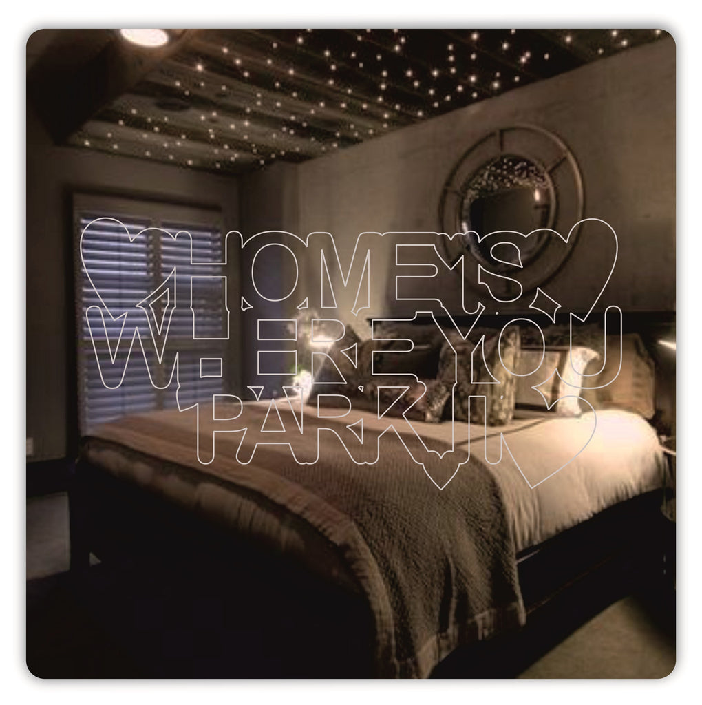 'Home Is Where You Park It' centre design square acrylic mirror - ukhomeware