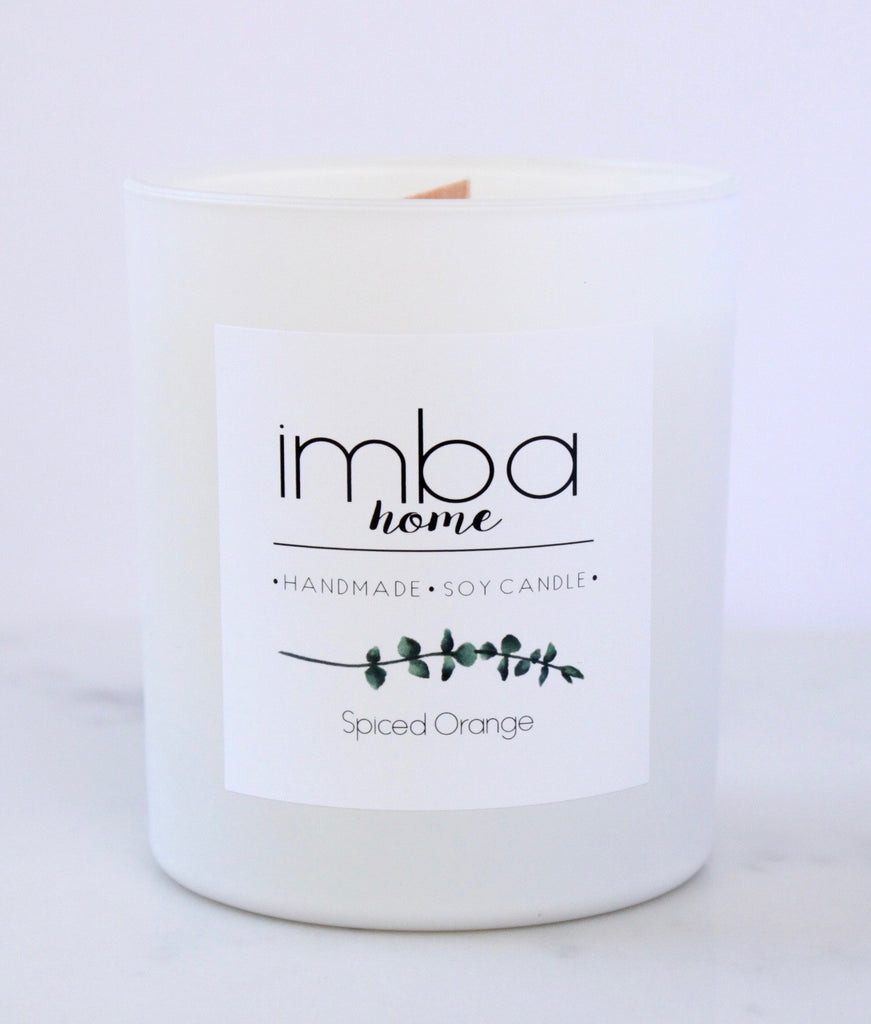 Imba Home Spiced Orange Candle in white matte jar