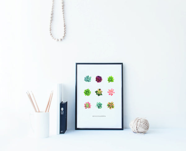 A4 colourful succulent print wall art