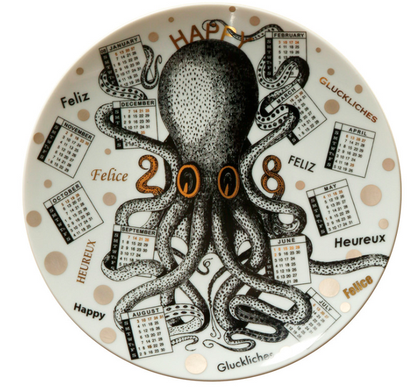 Fornasetti Calendar Plate 2008 black/white/gold - Milk Concept Boutique