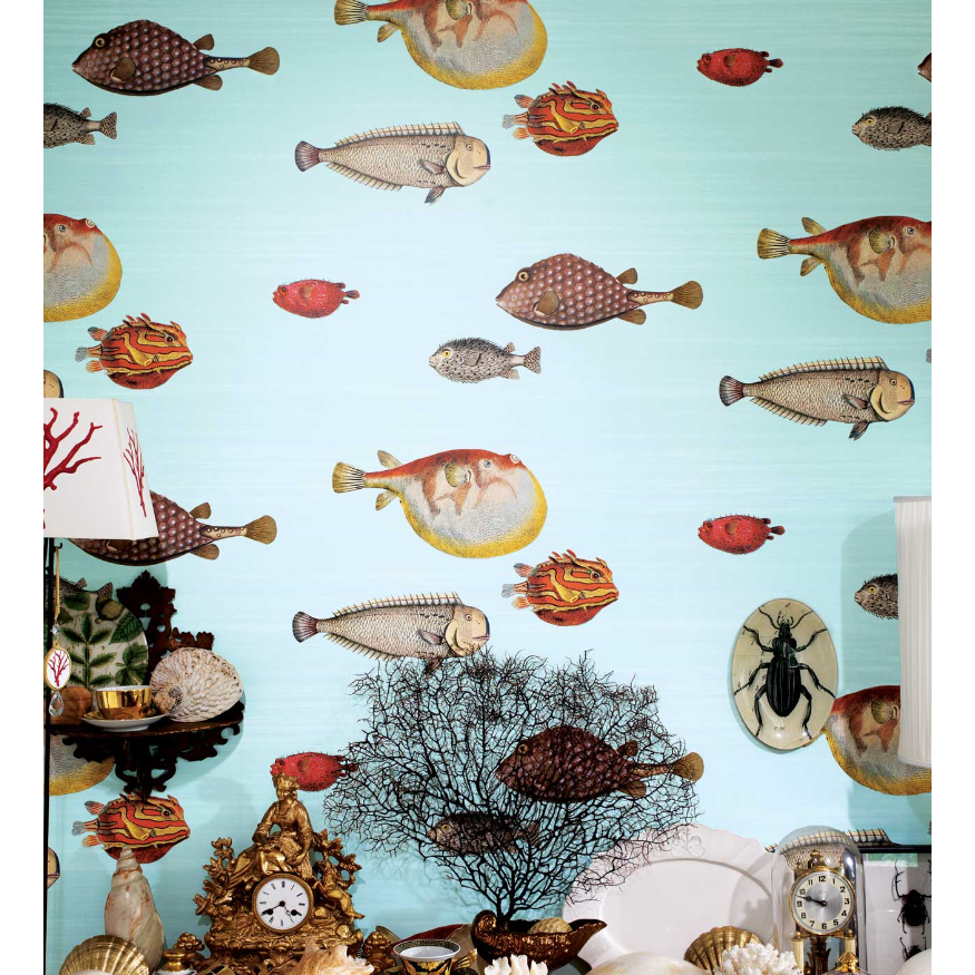 Fornasetti Acquario Wallpaper Milk Concept Boutique - Luxury-silver-and-gold-tiles-by-acquario