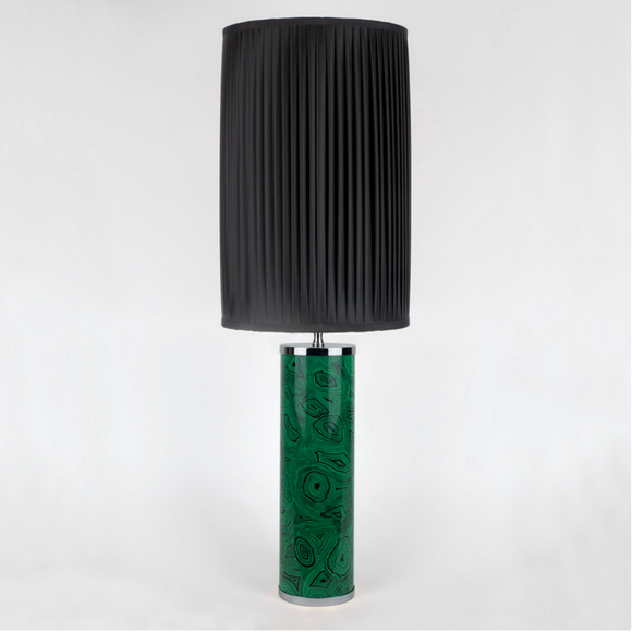 Fornasetti Cylindrical lamp base green Malachite - chromed details