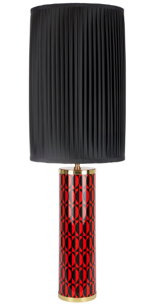 Fornasetti Cylindrical lamp base Losanghe Black/Red - Milk Concept Boutique