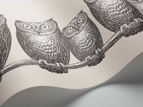 Fornasetti Nottambule (Owls) wallpaper/frieze - Grey / Black and White