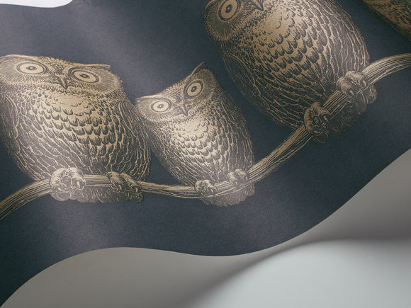 Fornasetti Nottambule (Owls) wallpaper/frieze - Night Blue/Gold