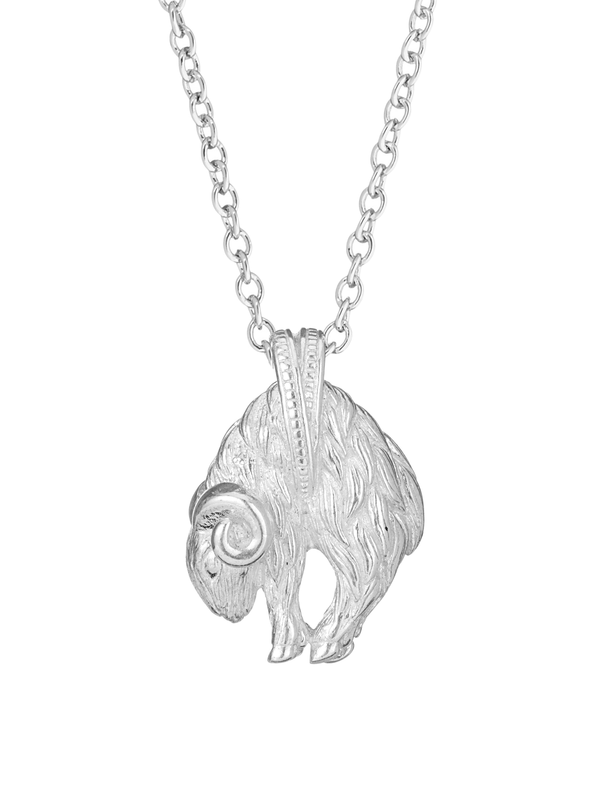 gold index silver pendant goat