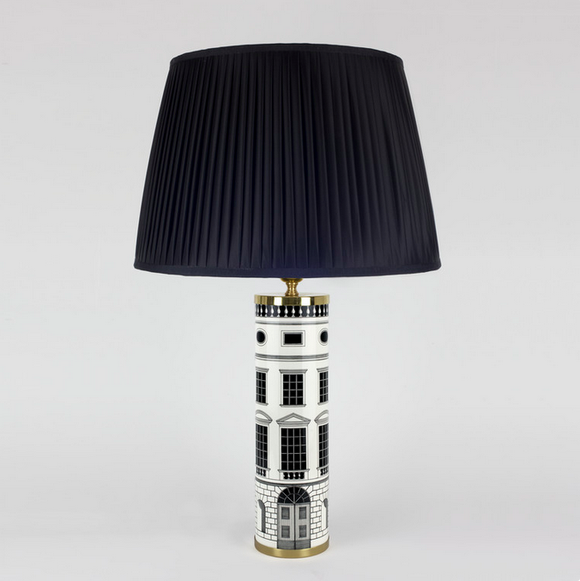 Fornasetti Cylindrical lamp base Architettura black/white - Milk Concept Boutique