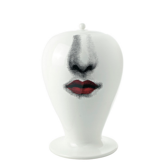 Fornasetti Vase Maxi Bacio black/white/red