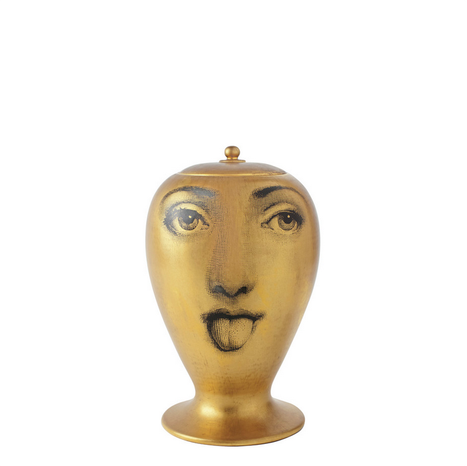 Fornasetti Vase Antipatico Blackwhite On Antique Gold Milk