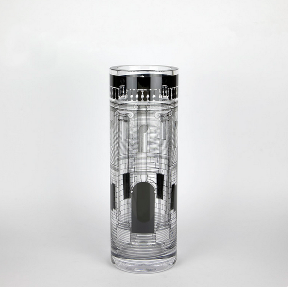 Fornasetti Glass Vase Casa con Colonne transparent/black