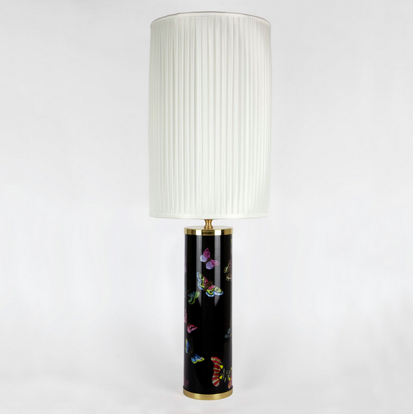Fornasetti Cylindrical lamp base Butterflies colours on black